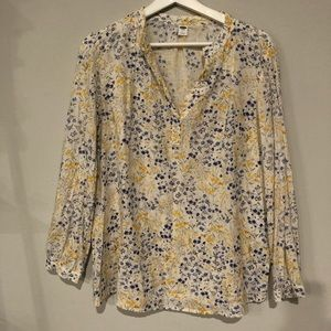 Old Navy Floral Linen Cotton Top